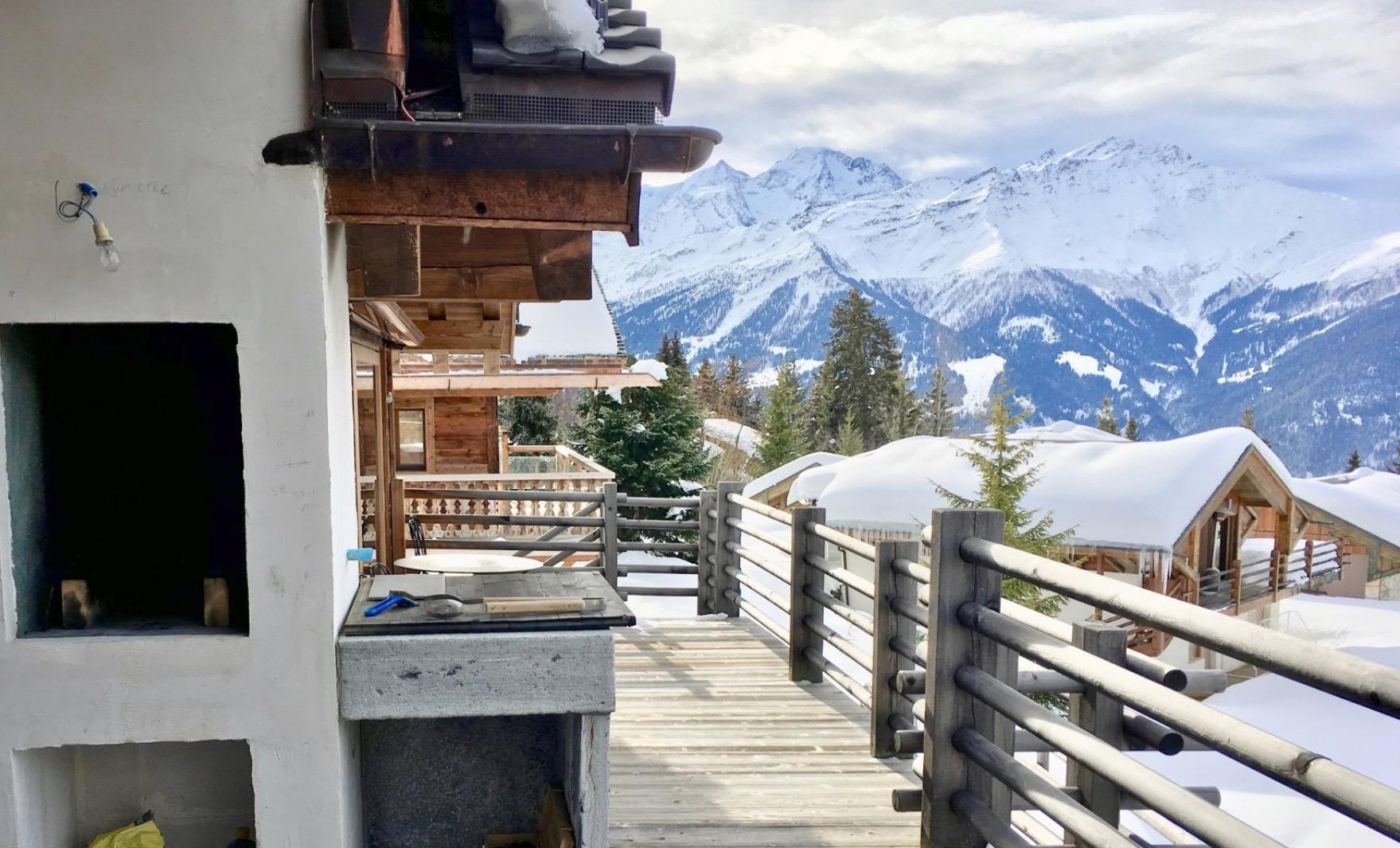 balcony chalet verbier in switzerland look