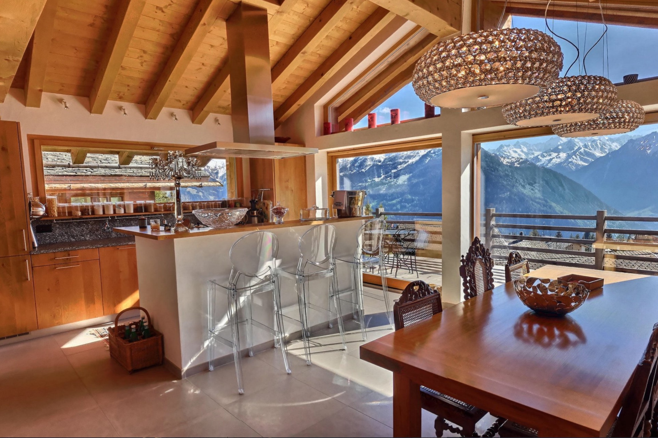 Chalet IV living area in verbier property for slae with good interior design