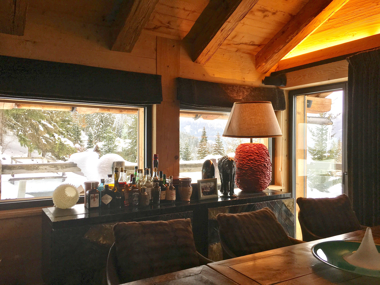 Verbier chalet ngoni dining with Liqueurs