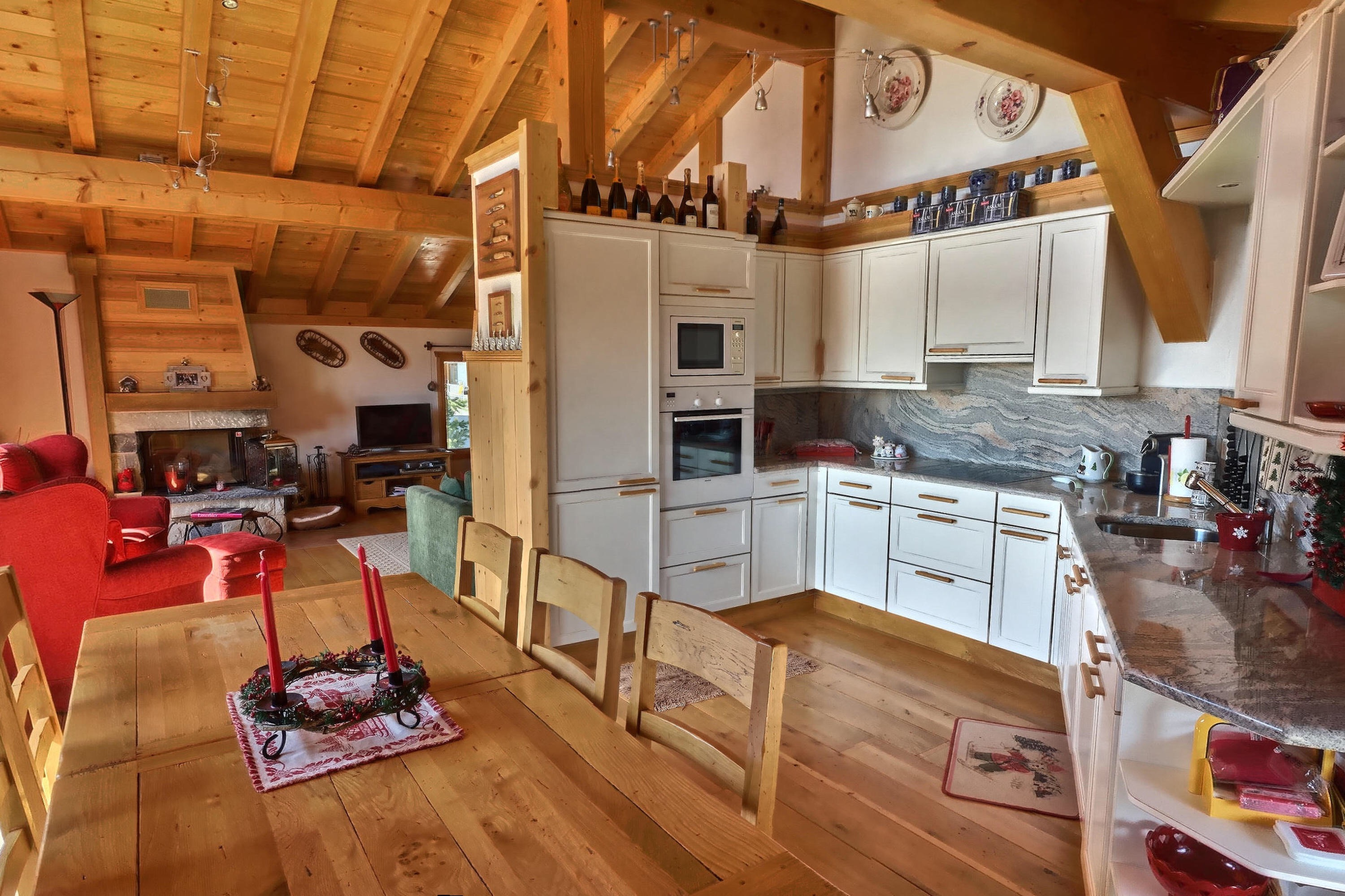 An Open Kitchen living beguin verbier with all materials