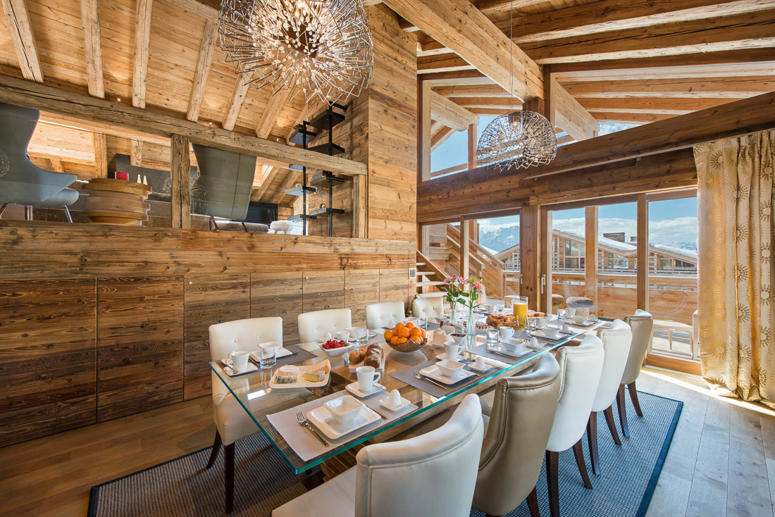 See Dinining table of pentahouse B property for sale in verbier